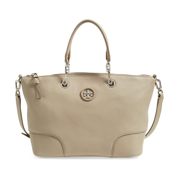 Tory Burch Small leather satchel in french gray - Whipstitched detailing and a polished logo medallion add...
