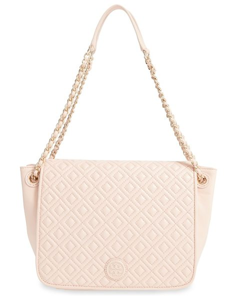 Tory Burch Small marion diamond quilted lambskin leather shoulder bag in pale apricot - Precise diamond quilting highlighted by...