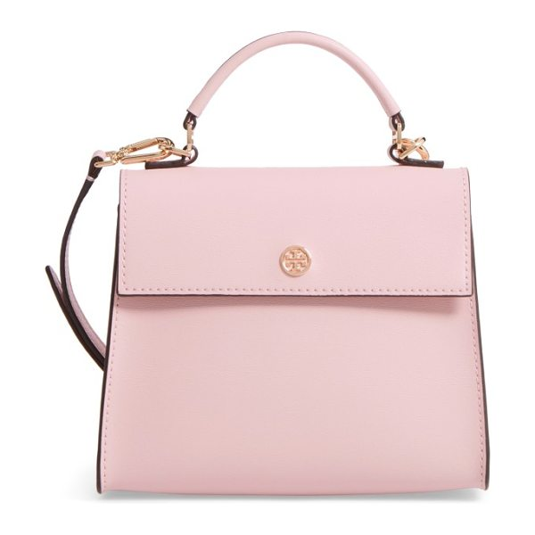 TORY BURCH small parker leather top handle satchel - A polished stacked-T logo medallion marks the flap of a...