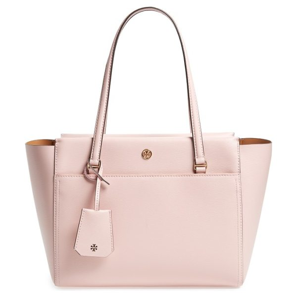 Tory Burch small parker leather tote in pink quartz leather / cardamom