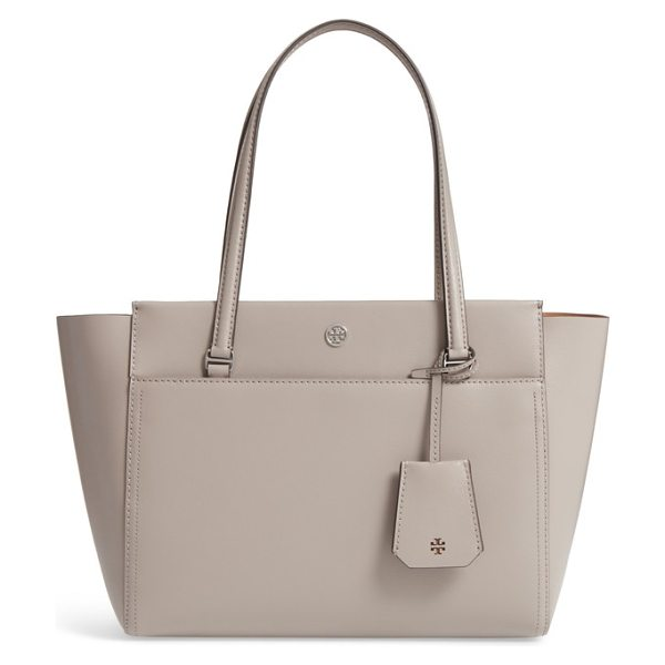 TORY BURCH small parker leather tote in dust storm / cardamom - A bag that can keep up with you and look super-chic?...
