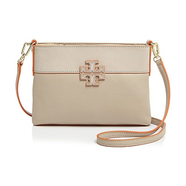Tory Burch Small Stacked-t Color Block Crossbody in clay/tory orange/gold - Tory Burch Small Stacked-t Color Block Crossbody-Handbags