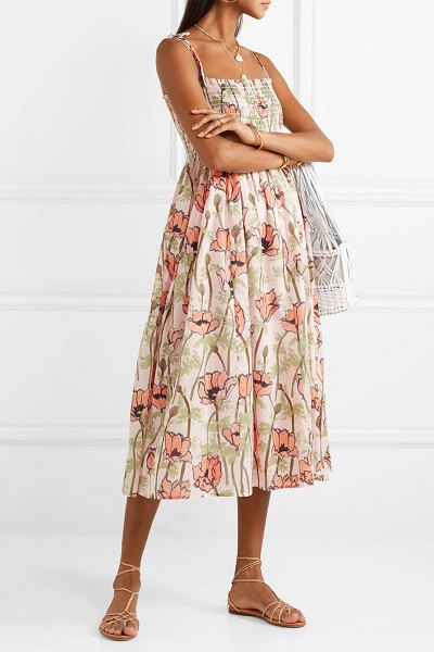 Tory Burch smocked floral-print cotton-voile midi dress in pink