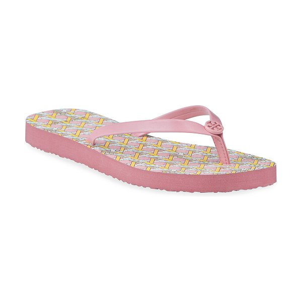 Tory Burch Square-Toe Flat Thong Pool Sandals in pink caning logo