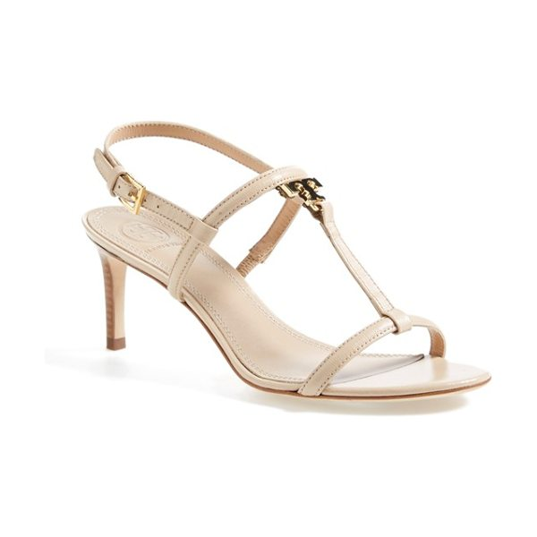 Tory Burch t logo leather sandal in camellia pink - A gleaming, monogram logo ornament-in the shape of an...