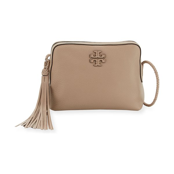 TORY BURCH Taylor Leather Camera Bag in soft clay - Tory Burch pebbled leather camera bag. Braided leather...