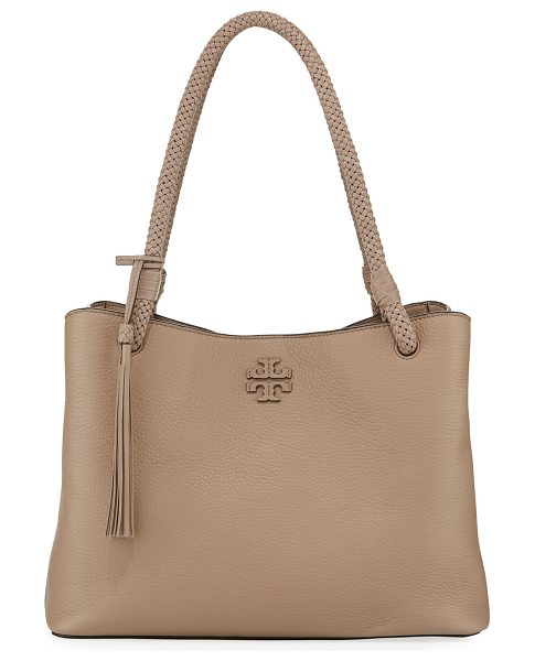 Tory Burch Taylor Triple-Compartment Tote Bag in soft clay - Tory Burch pebbled leather tote bag with golden...