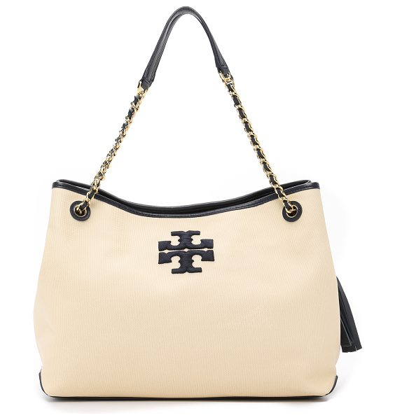 Tory Burch Thea canvas slouchy tote in natural - A casual canvas Tory Burch tote with embroidered logo...