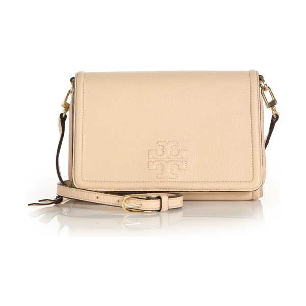 TORY BURCH Thea flat wallet crossbody in apricot - Wallet-style logo crossbody with a slim...
