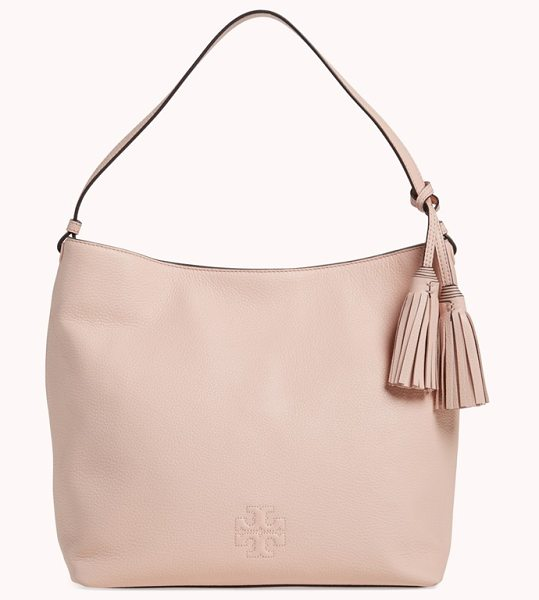 Tory Burch Thea leather hobo in pale apricot - An everyday hobo is cut from rich, lustrous pebbled...
