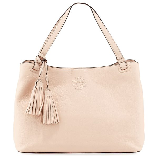 Tory Burch Thea center-zip tote bag in light pink - Tory Burch grained leather tote bag. Flat top handle...
