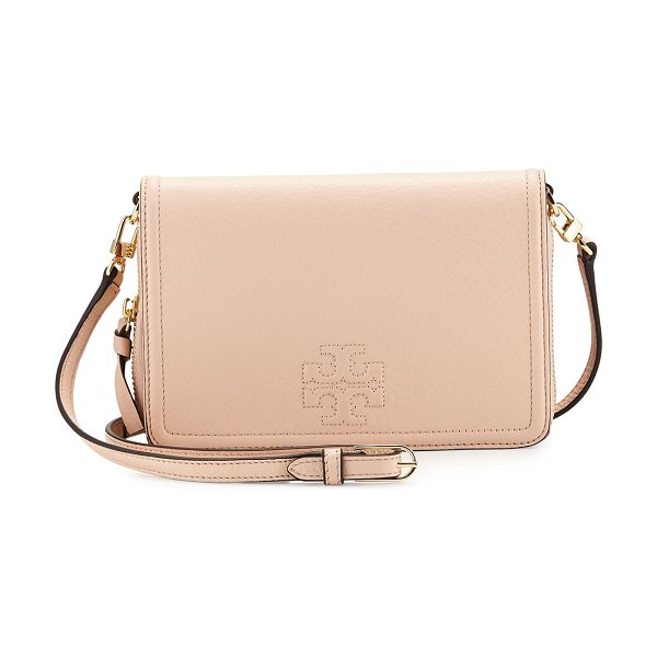 Tory Burch Thea leather wallet crossbody bag in light pink - Tory Burch pebbled leather wallet crossbody bag. Golden...