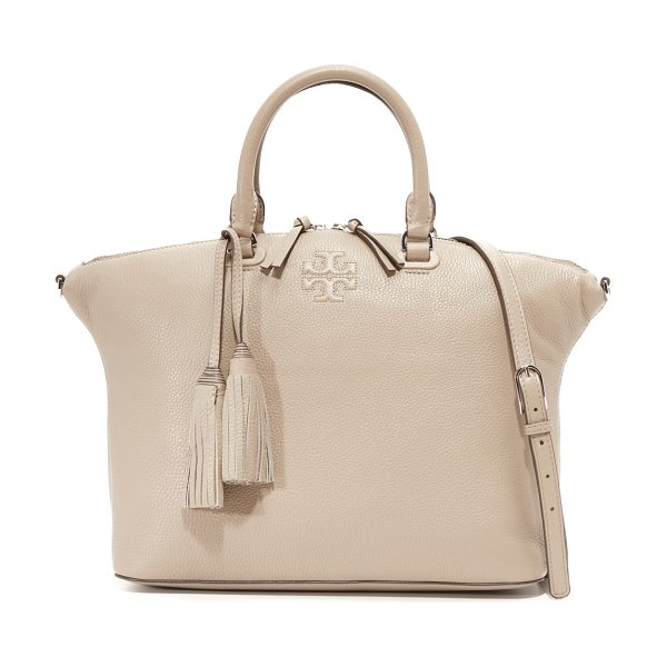 TORY BURCH Thea medium slouchy satchel in french gray - A simple Tory Burch tote in pebbled leather. Embossed...