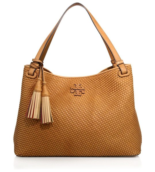 Tory Burch thea woven satchel in peanut - Tmeless woven satchel with logo patch and lining. Dual...