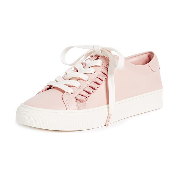 Tory Burch tory sport ruffle sneakers in pink/white - Leather: Calfskin Pique ruffle trim Comes with...