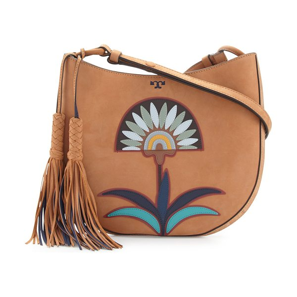 Tory Burch Utopia Appliqué Hobo Bag in camello - Tory Burch nubuck leather hobo bag with floral appliqu....