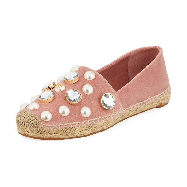 Tory Burch Vail Embellished Velvet Espadrille in ballet pink - Tory Burch velvet espadrille with pearlescent and...