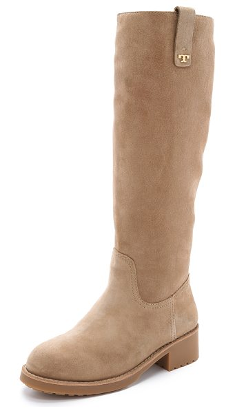 Tory Burch Wayland tall boots in camel - Knee high Tory Burch boots in cozy shearling. Pull tabs...