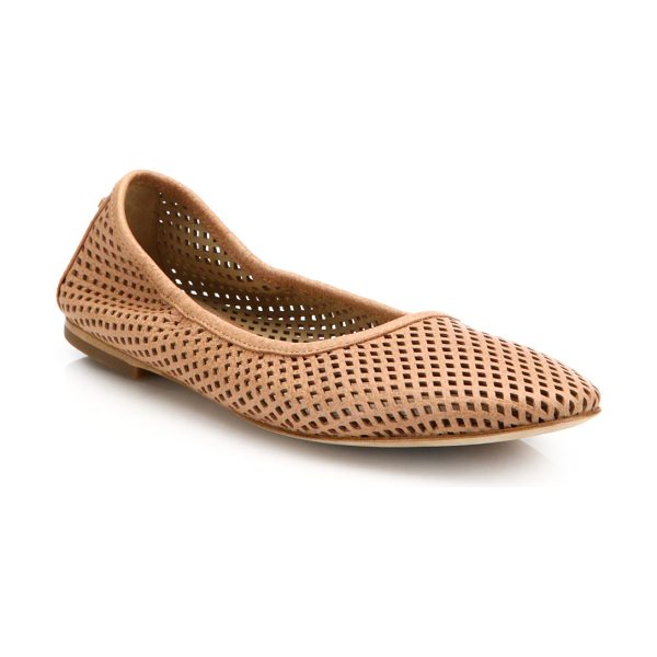Tory Burch Whittaker perforated leather ballet flats in nude - Elasticized leather flat with laser-cut diamondsLeather...