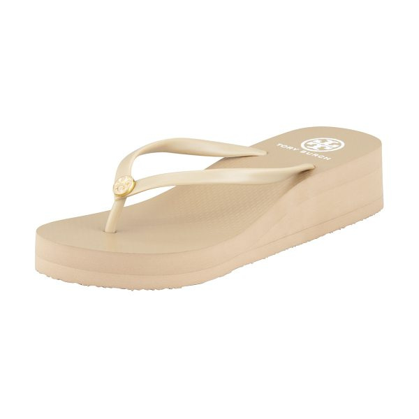 Tory Burch Rubber Wedge Flip-Flop in khaki/khaki - Classic, water-ready rubber flip-flop with signature...
