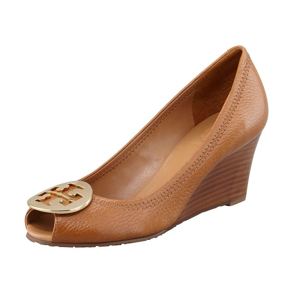 Tory Burch Sally 2 Leather Wedge Pump in royal tan/gold - Well-appointed tumbled leather with zigzag stitching...