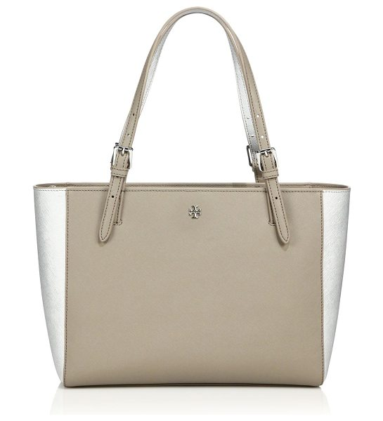 Tory Burch York small two-tone saffiano leather buckle tote in taupe-silver - Spacious two-tone tote design with gleaming buckle...