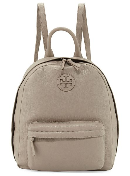 Tory Burch Zip-Around Leather Backpack in french gray - Tory Burch pebbled leather backpack. Golden hardware....