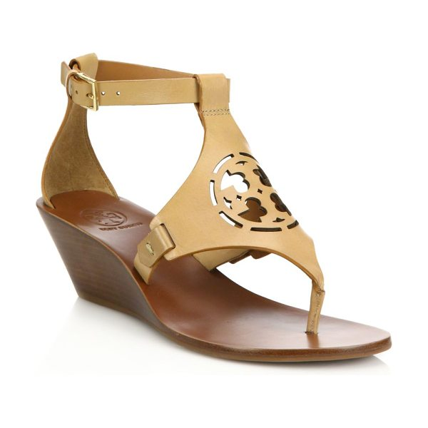 Tory Burch Zoey leather logo wedge sandals in sand - Leather wedge sandal with chic laser-cut logo top....