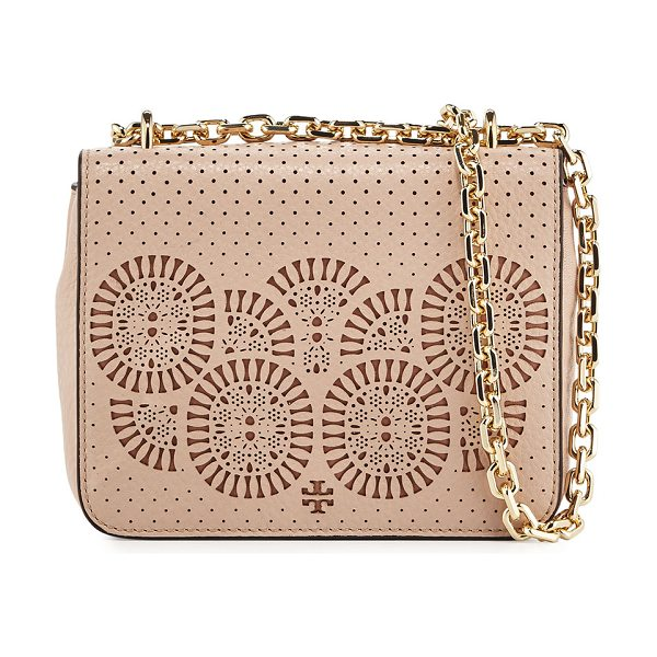 Tory Burch Zoey Mini Laser-Cut Shoulder Bag in lt oak/gingersnap - Tory Burch perforated leather shoulder bag with...