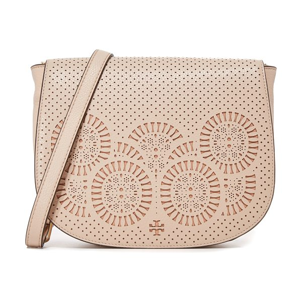 Tory Burch Zoey saddle bag in light oak/gingersnap - A large Tory Burch saddle bag with elaborate laser cut...
