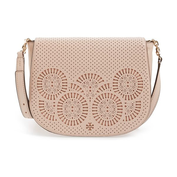 Tory Burch Zoey saddle bag in light oak/ gingersnap - A laser-cut Tory Burch logo and medallions distinguish...