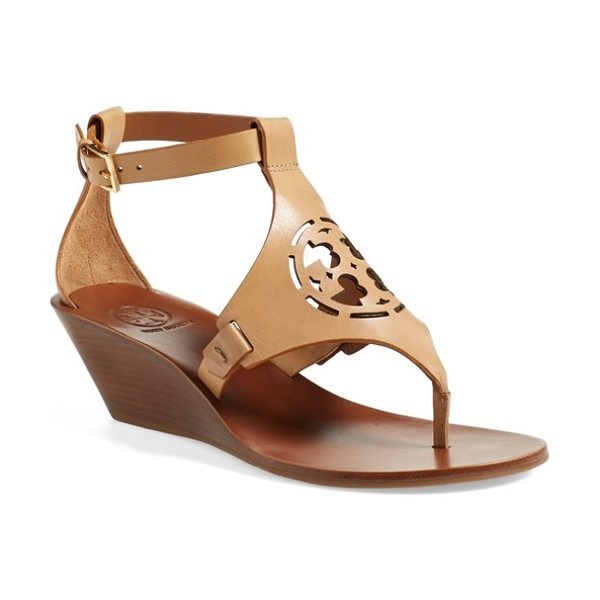 TORY BURCH zoey wedge sandal - A cutout Tory Burch medallion adds signature...