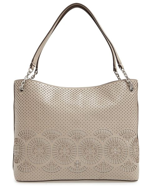Tory Burch Zoey zip tote in french gray/ gray - Laser-cut medallions and perforations enhance the...