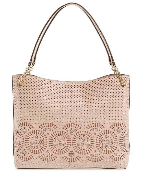 Tory Burch Zoey zip tote in light oak/ gingersnap - Laser-cut medallions and perforations enhance the...