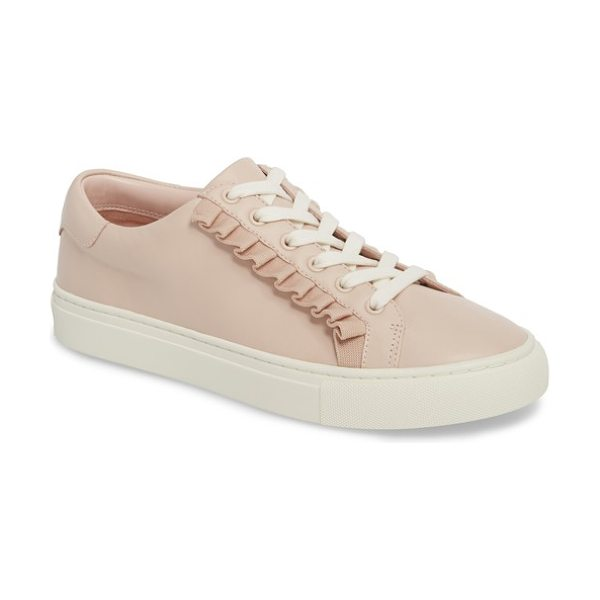 TORY SPORT ruffle sneaker in shell pink - Ruffled trim adds a flirty twist to an essential low-top...