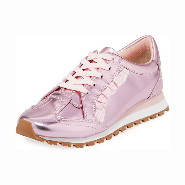 Tory Sport Ruffled Metallic Leather Trainer Sneakers in cotton pink - Tory Sport trainer in metallic leather with knit ruffle...