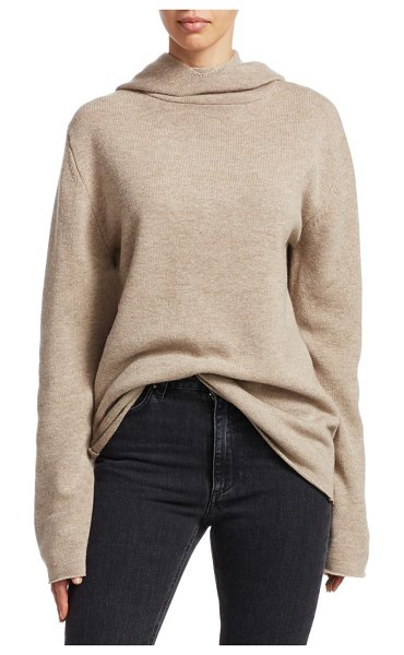 Toteme ellera merino wool & cashmere hooded turtleneck in beige melange - A cold-weather staple, this sweater features an...