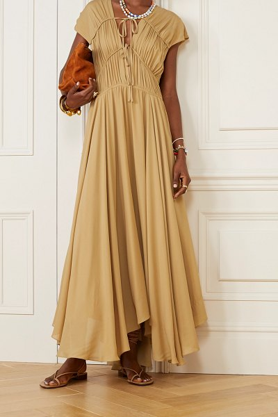 TOVE flores gathered silk-georgette maxi dress in tan