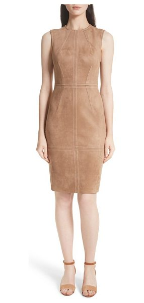 Tracy Reese faux suede sheath dress in dark sand - Faux suede brings the luxe look and feel of the real...