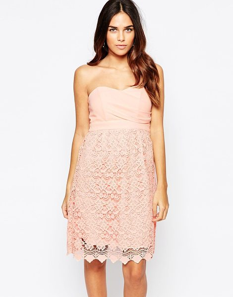 Traffic People Carry On Crochet Crusade Dress With Bandeau Top in pink