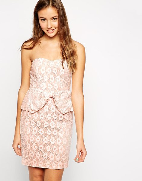Traffic People Catching dreams wiggle dress in pinkwhite - Casual dress by Traffic People Lined floral lace...