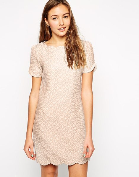 Traffic People Cloud watching scallop dress in jacquard in fawn - Evening dress by {BrandLink} Lightweight, jacquard...