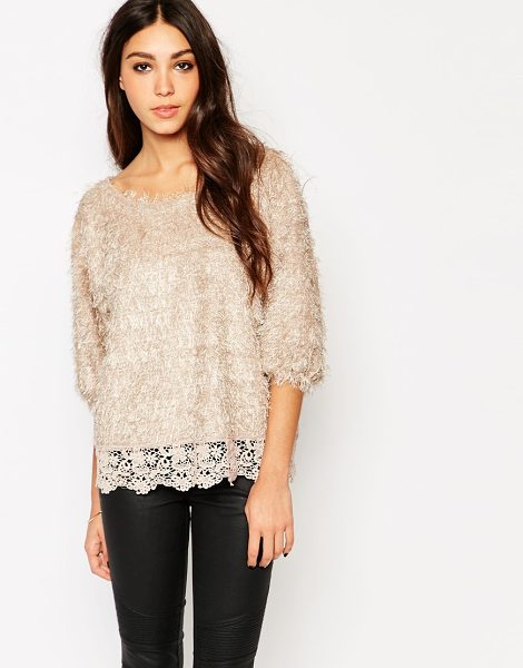 Traffic People Frosty frolics knitted top in beige - Top by Traffic People Fluffy-feel knit Boat neckline...