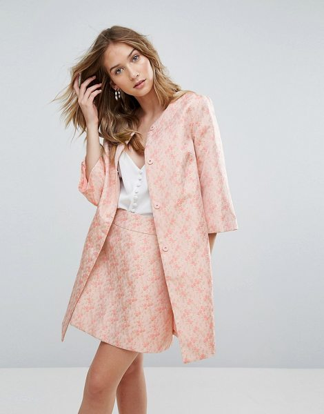 "Traffic People jacquard coat in pink - """"Coat by Traffic People, Textured jacquard, Fully..."