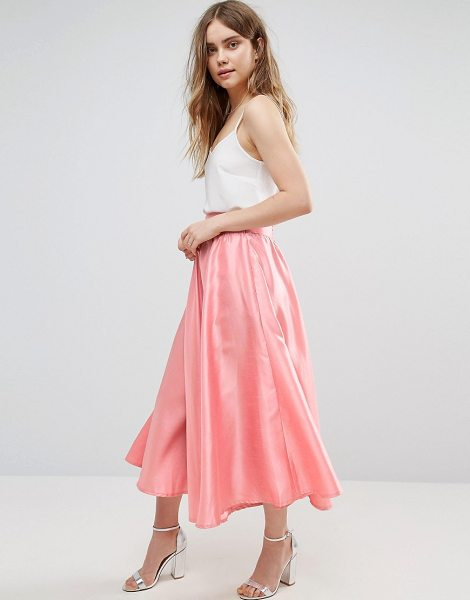 Traffic People Pleated A Line Skirt in pink - Skirt by Traffic People, Smooth satin-style fabric,...