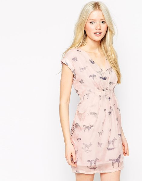 Traffic People Silk flatter me dress in illustrated animal print in pink - Dress by Traffic People Lined silk chiffon V-neckline...