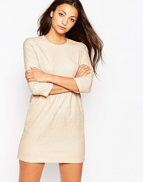 Traffic People Snowballs textured long sleeve dress in beige - Casual dress by Traffic People Textured fabric Round...
