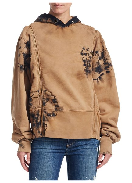 TRE by Natalie Ratabesi zip-off sleeve tie dyed hoodie in amber - Natalie Ratabesi's cotton hoodie reflects a cool...