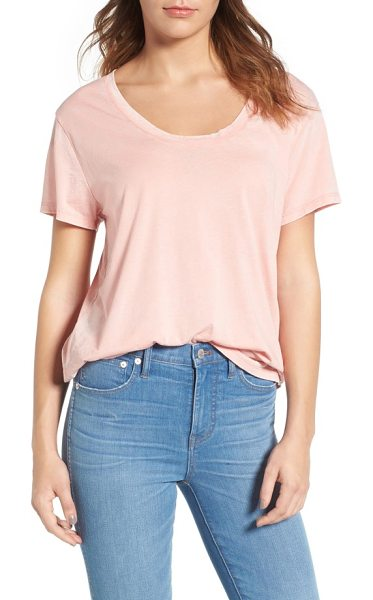 Treasure & Bond burnout boyfriend tee in coral almond - Ultrasoft and drapey, this oversized scoop-neck tee is...