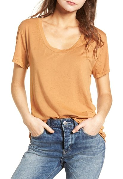 Treasure & Bond burnout boyfriend tee in tan sugar - Ultrasoft and drapey, this oversized scoop-neck tee is...